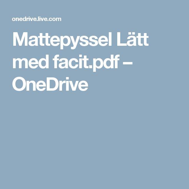 Mattepyssel Lätt med facit.pdf – OneDrive