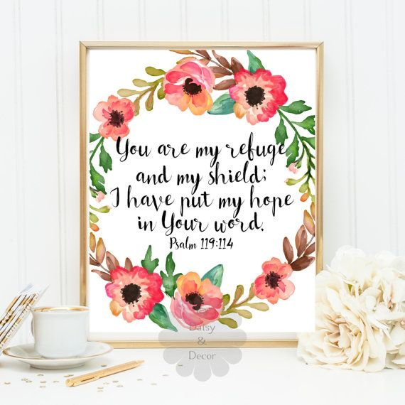 Psalm 119:114 Bible verse printable Verse scripture print You are my shield…