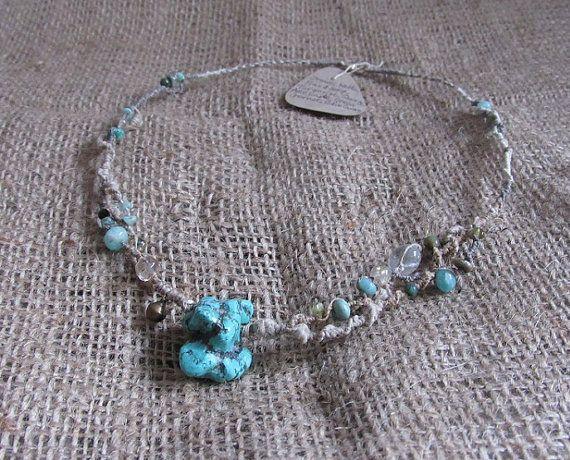Organic Macrame Crystal Necklace Hemp Nettle by tinkertailoruk