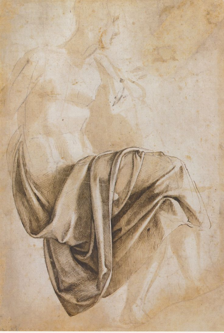 Michelangelo Buonarroti, Study for the drapery of the Erythraean Sibyl, seated to right with legs crossed, 1508-1512. Brown wash and pen and dark brown ink over a black chalk under-drawing, 38.4 x 28.9 cm. British Museum, London.