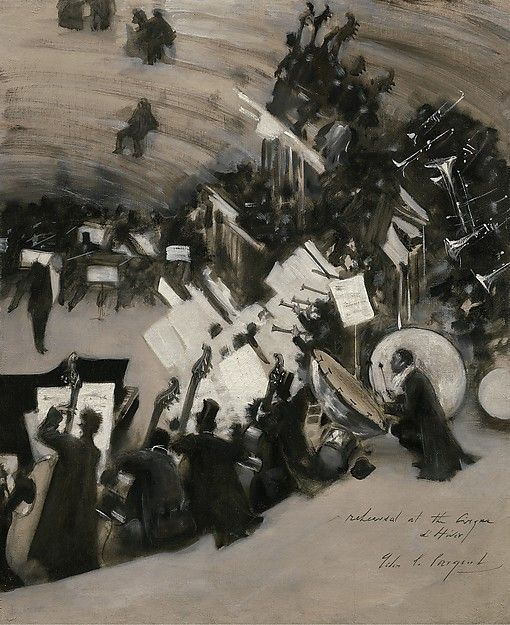 """John Singer Sargent (American, 1856–1925). Rehearsal of the Pasdeloup Orchestra at the Cirque d'Hiver, 1879–80. Lent by the Museum of Fine Arts, Boston. The Hayden Collection–Charles Henry Hayden Fund 