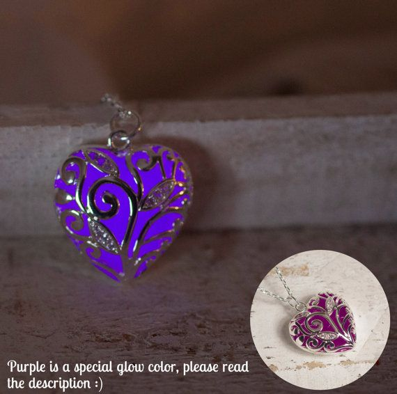 Purple Glowing Heart Necklace - Glow in the Dark - Purple Necklace - Violet  - Gifts for Her - Glowing Jewelry - Purple Jewelry