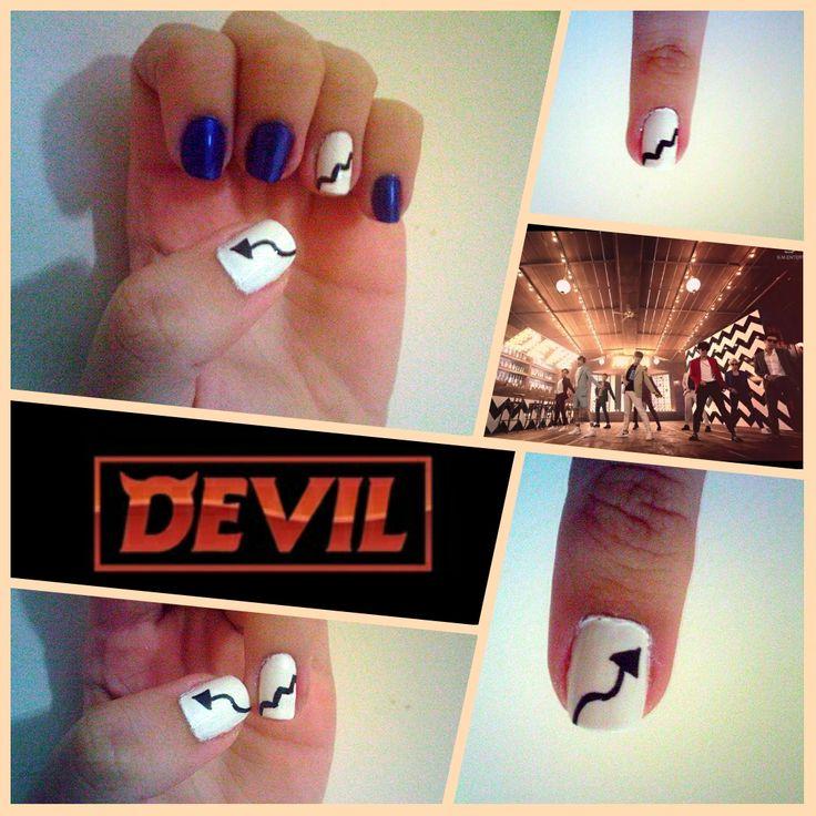 목타오게 하지 넌 Devil 뜨거워 ...♪♬ • • • My work: Super Junior's Devil MV inspired nail art  Devil's tail, the wall of the Club where they dance and of course the fandom's color Sapphire Blue #Kpop #SuperJunior #ELF #DEVIL #슈퍼주니어 #nails #nailart