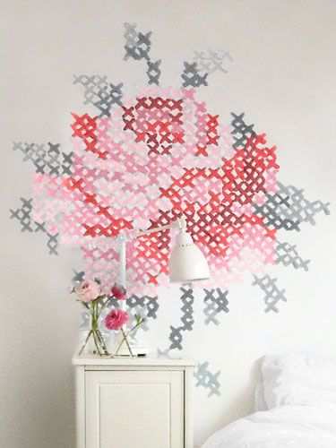 Swap a needle and thread for a brush and paint to re-create this oversize riff on an embroidered rose.Crosses Stitches Wall, Wall Decor, Design School, Decor Ideas, Diy Wall Art, Painting Crosses, Stitches Painting, Cross Stitches, Room