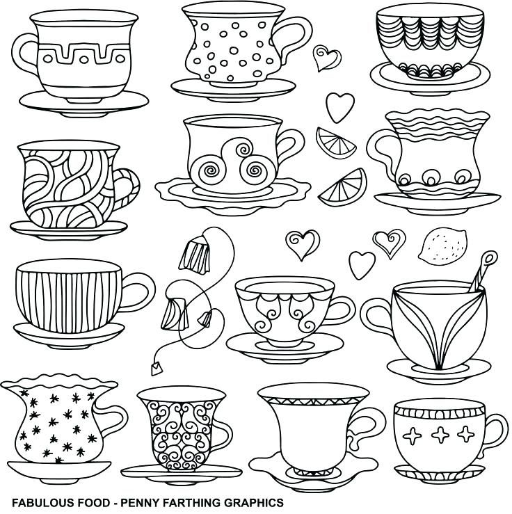 Teacup Coloring Page Fabulous Food Penny Farthing Graphics