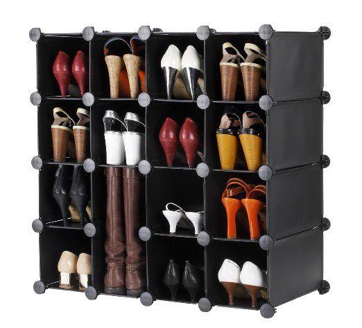 VonHaus Cubes de rangement modulables pour chaussures, vêtements, jouets - 16 cubes Noirs: Amazon.fr: Cuisine & Maison