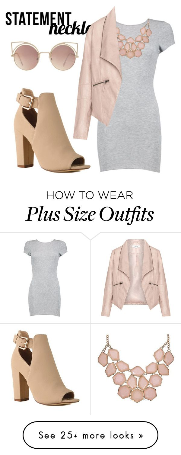 """Untitled #80"" by millionrand on Polyvore featuring Zizzi, MANGO, contest, contestentry, polyvorecontest and statementnecklaces"