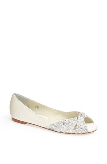 Benjamin Adams 'Andie' Crystal Embellished Peep Toe Flat available at #Nordstrom... $270...  Ivory