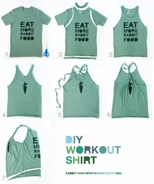 Cool Crafts You Can Make for Less than 5 Dollars | Cheap DIY Projects Ideas for Teens, Tweens, Kids and Adults | DIY Workout T-Shirt | http://diyprojectsforteens.com/cheap-diy-ideas-for-teens/
