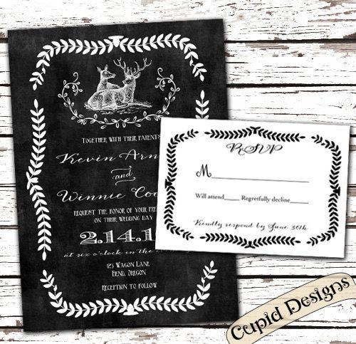 Rustic Wedding Invitation. Deer Wedding Invite. By CupidDesigns, $1.00