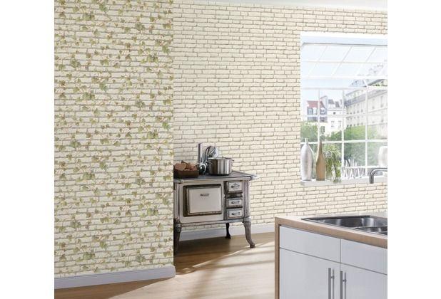Schönes Design in einer Tapete! Die Steinoptik wird ergänzt durch ein schönes Efeumotiv, welches eine dreidimensionale Wirkung hervorruft. Gerne verwendet in der Küche, im Wohnzimmer oder Schlafzimmer. #Tapete #Stein #Efeu #Design #Wohnzimmer #Schlafzimmer #romantisch #ascreation #hertie AS Création