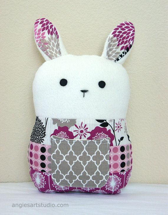 Stuffed Animal Pillows With Pockets : Patchwork Bunny Tooth Fairy Pillow - has a front pocket for stashing little treasures! Angie ...