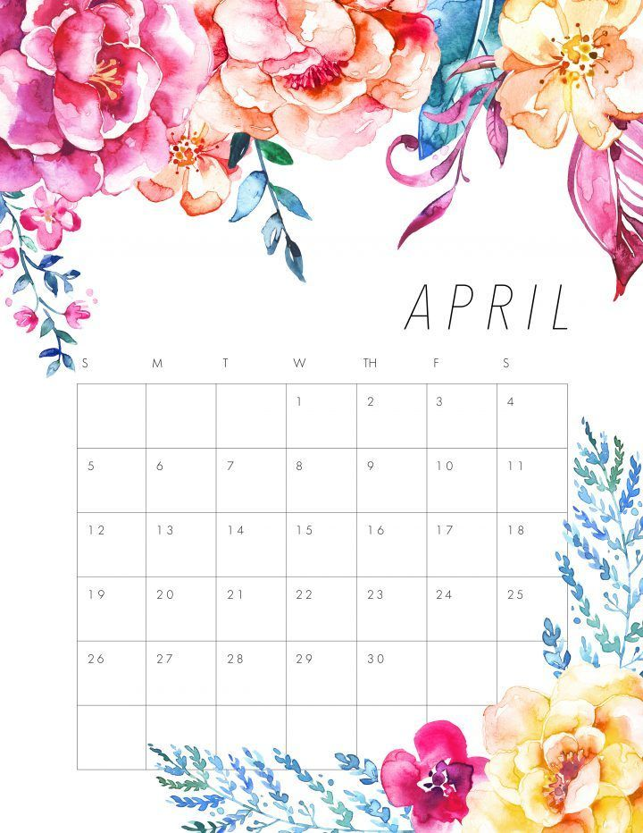 30 Best Free Printable April 2020 Calendars In 2020 With Images