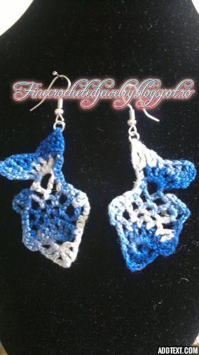 crochet fish lace earrings www.finecrochetedjewelry.blogspot.ro