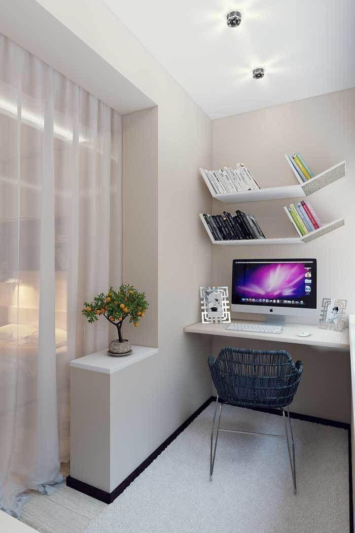 Если в качестве кабинета выбрана лоджия в спальне, отделите комнату дополнительно шторами или легкой перегородкой. Так, заработавшись до поздна, вы не будете мешать остальным членам семьи.