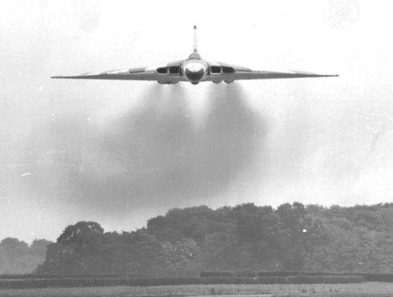 Avro Vulcan Mk 1A XH480, of 101 Sqn, conducting an 'attack' against Waddington's Air Traffic Control Tower.