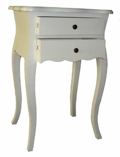 Bedside Table 2 Drawer - French 75 x 50 x 40 White Wash F1678 R