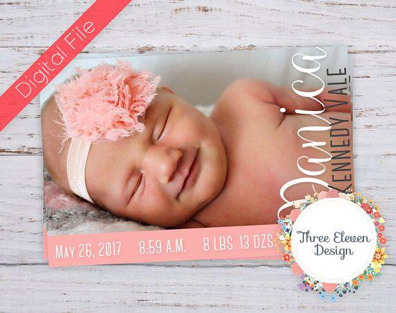 Pink Printable Birth Announcement  Birth Stats Printable