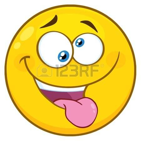 Mad Yellow Cartoon Smiley Face Character With Crazy Expression And Protruding Tongue. Illustration Isolated On White Background illustration