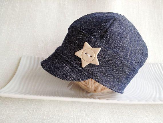 Baby Jeans Cap Newborn to XL child cap Photo by SquishyBabyStuff, $23.00