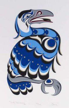 Lichte kleuren in blauwtint. Vogel met grafische elementen als veren.
