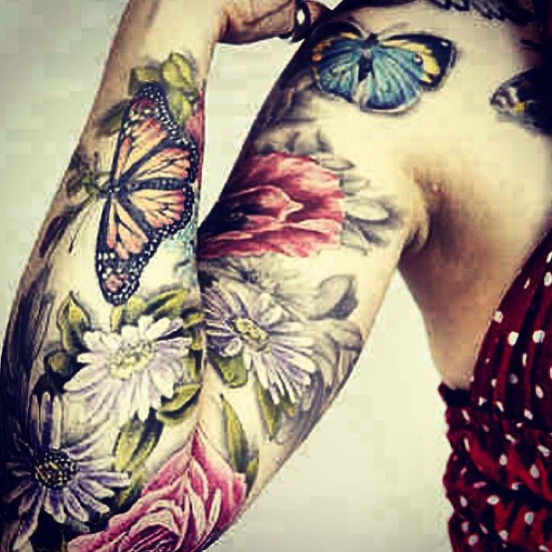 Flower Tattoos for Women's Arms | Butterfly Tattoos With Flowers On Full Arm For Women