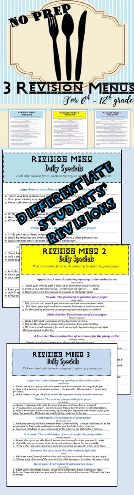 3 unique revision menus with over 40 revision suggestions for students to create better quality writing. Designed for English classrooms from 6th to 12th grade. This is a versatile resource that makes student choice and individualized revisions possible. $1.00