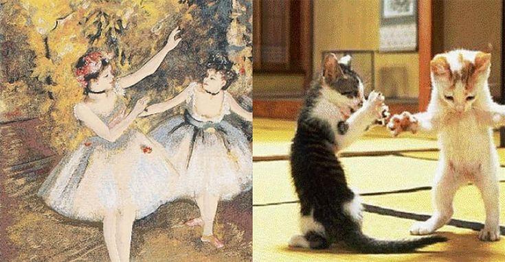 Kedicikler sanat dünyasına küçük bir pati dokunuşu yapmışlar :)