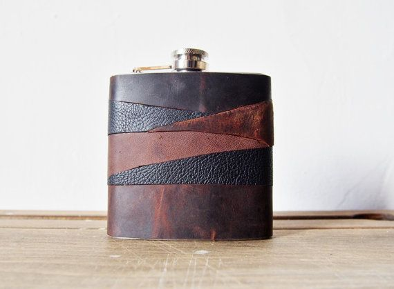 Rustic Leather Flask - Personalized Flasks, rustic leather, distressed hip flask, wedding hip flasks on Etsy, $70.32