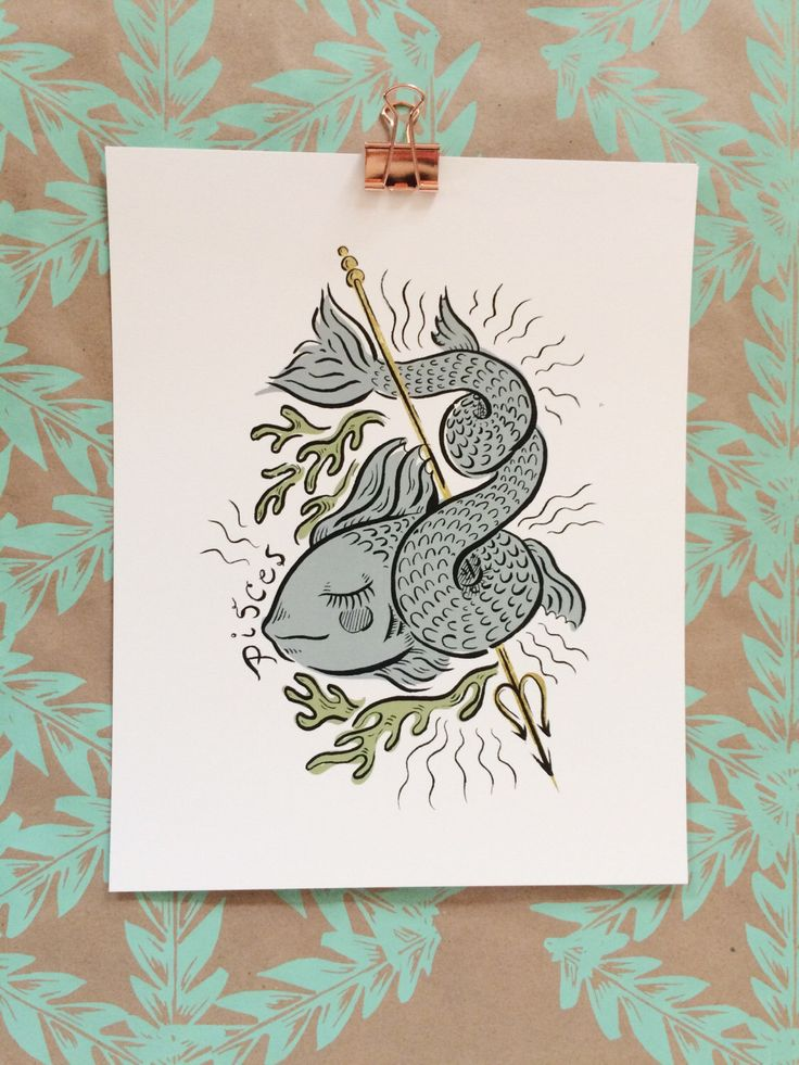 Signs of the Zodiac | Pisces Illustration 8 x 10 Art Print by OliveandCoStudio on Etsy https://www.etsy.com/listing/489995715/signs-of-the-zodiac-pisces-illustration
