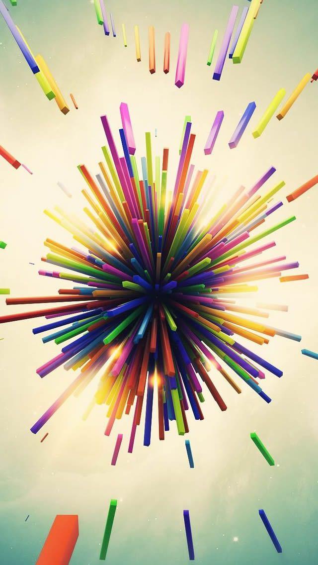 Color Explosion 3D iPhone 5s wallpaper 3d wallpaper