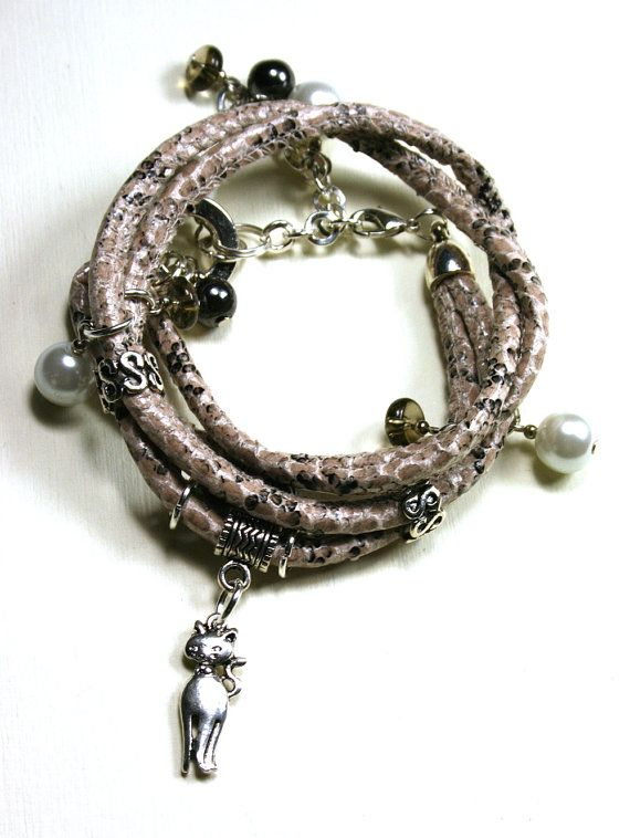 Beige cat snake bracelet charms strap  Elegant by SoutacheOOAK