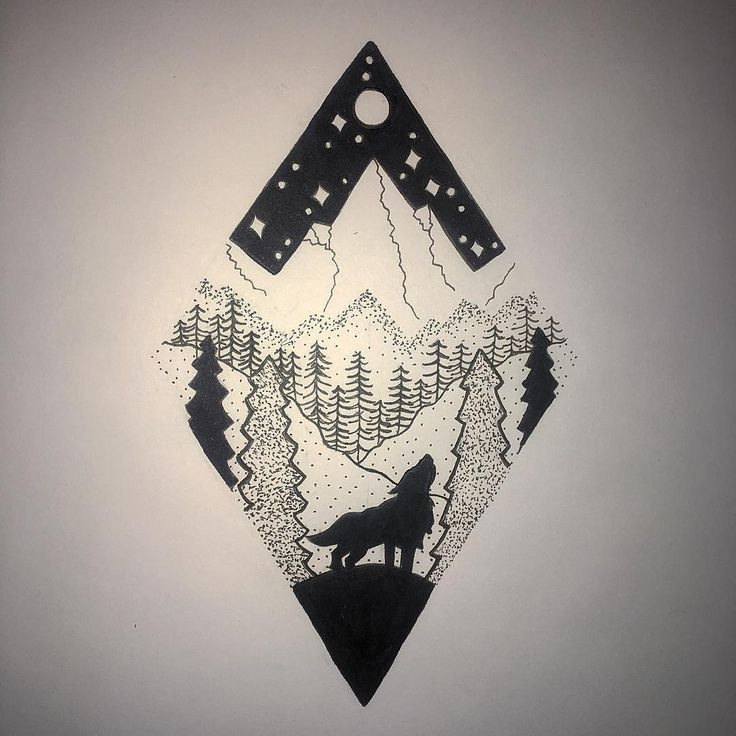 Best 25 wolf and moon tattoo ideas on pinterest wolf design just the mostly symmetry of the mountain and moon ccuart Gallery