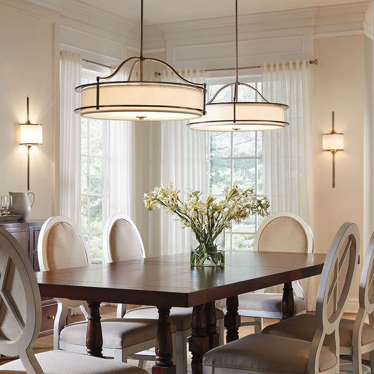 Rustic Dining Room Lighting Elegant Black Drum Shade
