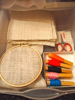 Sewing on burlap with embroidery floss. Clothes pins, great idea!