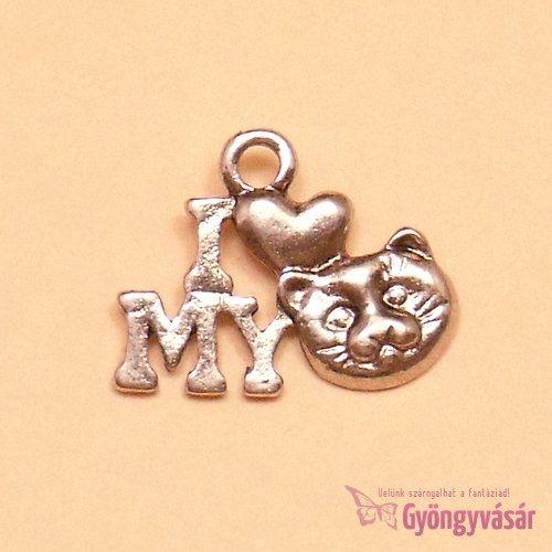Ezüstszínű I Love My Kitty - fém fityegő