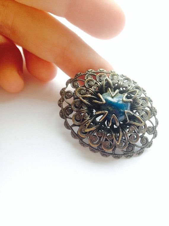 Filigree vintage brooch with blue gemstone  by TheDorothyDays #dorsetteam
