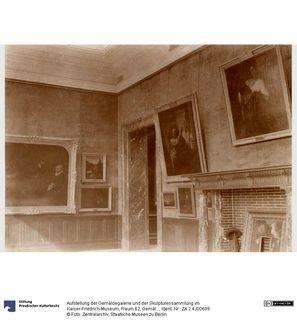 """Raum 62, Gemälde Rembrandts ...Rembrandt """"Simson bedroht seinen Schwiegervater"""" (802).- Rembrandt """" Der Mennoniten Prediger... ...Cornelis Claesz Anslo (1592-1646) und seine Frau Aeltje Gerritse Schouten (1589-1657)"""" (828L).- Rembrandt... ...""""Jakob ringt mit dem Engel"""" (828).- Rembrandt """"Minerva"""" (828C).- Aert van der Neer """"Mondaufgang über... ...einem Fluß"""" (842).- Jan Jacobus Victors """"Federvieh im Park"""" (899B)...."""