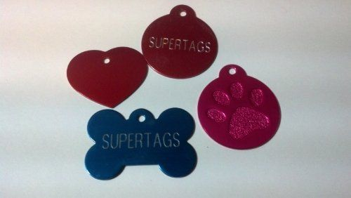 $3.95 Cheap dog tags, cheap pet tags FREE SHIPPING!! Large and small Bones, hearts, rounds, paws 8 colors- black, green, red, blue, pink, purple, gold and silver Ships within 24-48 hours.