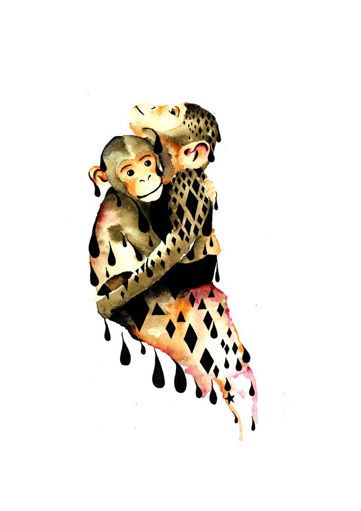 Chimpanzees Illustration Artprint Arkwork Animal