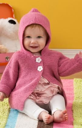 Precious Playtime Hoodie Free Knitting Pattern from Red Heart Yarns