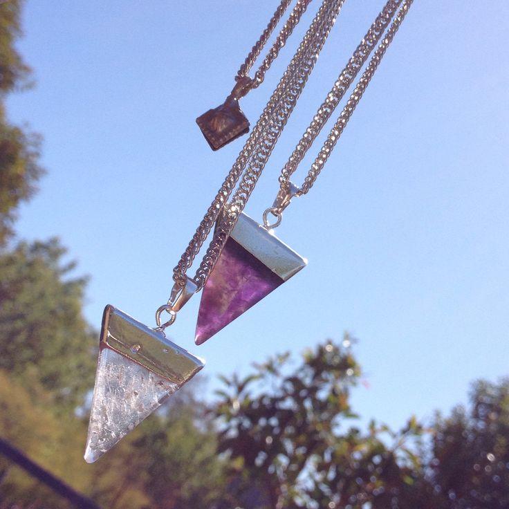 Crystal aura layer necklace Handmade SilverChain lengths : approx. 45cm
