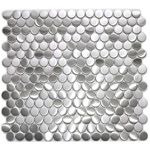 Penny Round Pattern Mosaic Stainless Steel Tile  EMT_056-SIL-SM $20