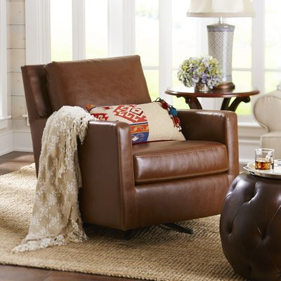 Darren Swivel Rocker Chair - Saddle