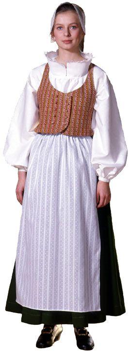 Auranmaan naisen kansallispuku.   Essukangas on mielenkiintoinen ja kaulus saman tyylinen kuin Kymin naisen puvussa - yhdistetty edesta kissanpistoin tai reikaompeleella
