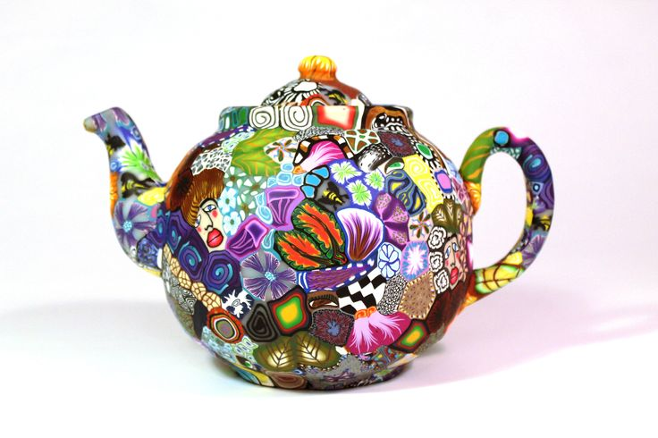 Crazy patch work. Tea pot made from polymer clay and porcelain