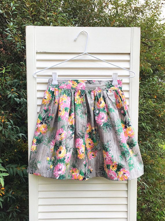 Floral girls skirt elastic waist skirt girls gathered skirt