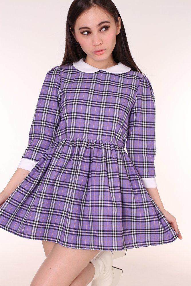 Made To Order - Caroline Baby Doll Dress in Purple Tartan
