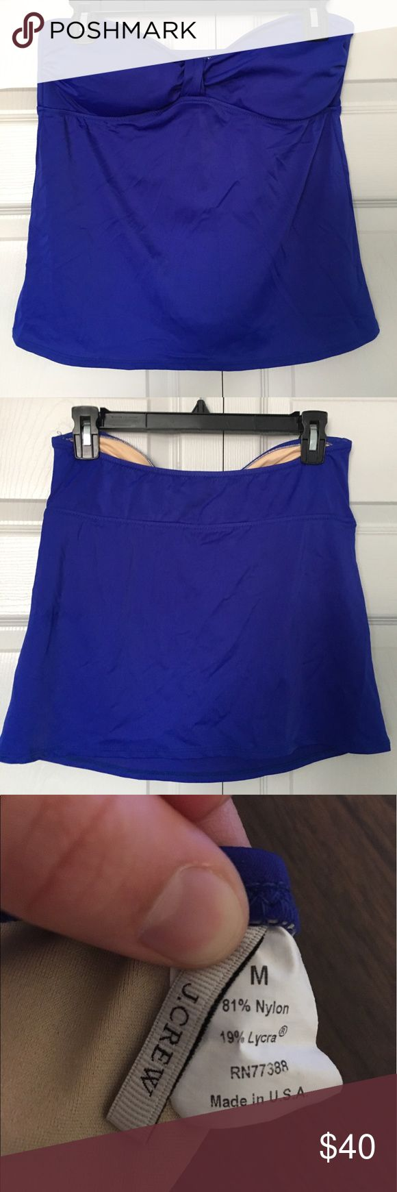NWOT J. Crew Tankini Top No bottoms, but would look great with black/white bottoms! Worn once, briefly, it's a little too short on my torso... Beautiful deep royal blue, feel free to bundle, I'm open to reasonable offers but no lowballing please! :) J. Crew Swim