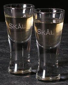 """Etched Swedish Snaps """"Skål"""" Glasses set of 4"""